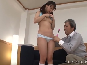 Asian, Brunettes, Couple, Hardcore, Japanese, Natural boobs, Old and young, Panties, Pigtail, Pussy, Sex toys, Tits