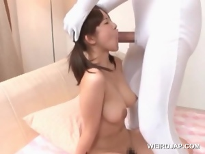Asian, Blowjob, Brunettes, Fucking, Hardcore, Japanese, Mouthful, Natural boobs, Pigtail, Tits