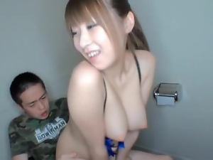 Amateur, Asian, Brunettes, Couple, Fucking, Hardcore, Japanese, Natural boobs, Perky, Toilet