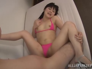 Asian, Bikini, Brunettes, Couple, Doggystyle, Hardcore, Japanese, Natural boobs, Petite, Pink, Pounded, Teens