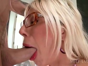 Blondes, Blowjob, Couple, Deepthroat, Drilled, Glasses, Hardcore, Milf, Wife