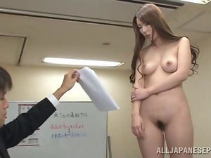 Asian, Babes, Beautiful, Couple, Hardcore, Hypnotized, Japanese, Long hair, Natural boobs, Nude, Office