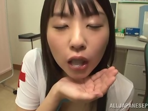 Asian, Babes, Brunettes, Cum in mouth, Dick, Face, Japanese, Milk, Nurse