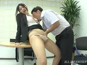 Amateur, Asian, Brunettes, Clothed sex, Couple, Fingering, Fucking, Hardcore, Japanese, Naughty, Office, Pantyhose