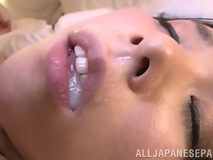 Asian, Babes, Close up, Couple, Cum in mouth, Cumshots, Dick, Hardcore, Japanese, Mouthful, Naughty, Riding, Swallow