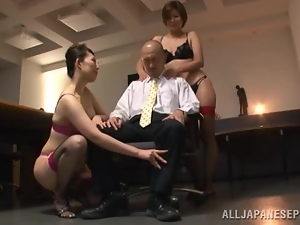 Asian, Boss, Bra, Ffm, Japanese, Milf, Office, Stockings, Threesome