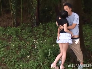 Asian, Babes, Couple, Japanese, Miniskirt, Outdoor