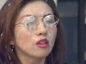 Asian, Chick, Cum, Cum covered, Cum in mouth, Cumshots, Facials, Fucking, Glasses, Hardcore, Japanese, Kinky, Office, Swallow