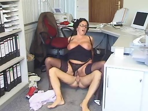 Amateur, Big tits, Brunettes, Chubby, Couple, Glasses, Hardcore, Lingerie, Mature, Mature amateur, Nylon, Office, Panties, Stockings