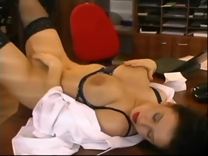 Big tits, Bra, Brunettes, Busty, Desk, Doggystyle, Lingerie, Masturbating, Nylon, Office, Secretary, Stockings