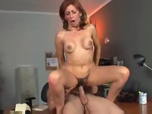 Couple, Drilled, Fake tits, Hairy, Hardcore, Mature, Office, Pussy, Redheads