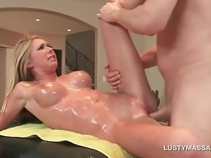 Big tits, Blondes, Cougar, Couple, Cunt, Fake tits, Hairless, Hardcore, Massage, Milf, Oiled, Orgasm, Sexy