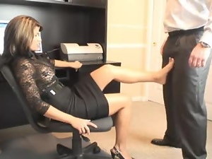 Amazing, Blowjob, Couple, Foot fetish, Hardcore, Milf, Miniskirt, Office