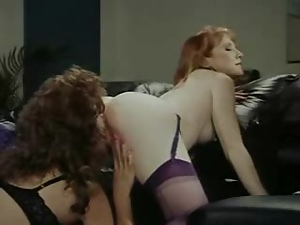 Ass, Bra, Lesbian, Licking, Lingerie, Nylon, Office, Pussy, Retro, Rimjob, Sex toys, Stockings