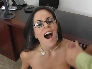Boss, Brunettes, Busty, Couple, Cum in mouth, Cumshots, Facials, Fucking, Glasses, Hardcore, Milf, Office, Seduce, Swallow