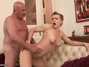 Babes, Blondes, Couple, Dick, Hardcore, Huge, Natural boobs, Old, Old and young, Short hair