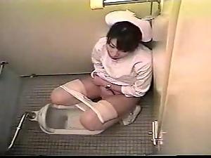 Amateur, Asian, Brunettes, Japanese, Masturbating, Nurse, Pussy, Security cam, Toilet, Uniform