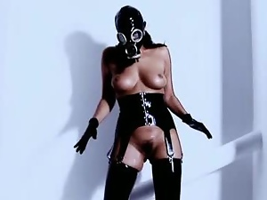 Brunettes, Chick, Costume, Fucking, Hairy, Latex, Leather, Lingerie, Mask, Natural boobs, Stockings