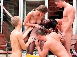 Bisexual, Gangbang, Group sex, Interracial, Nature, Outdoor
