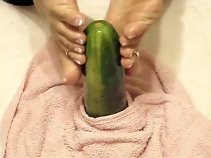 Cucumber, Foot fetish, Oiled