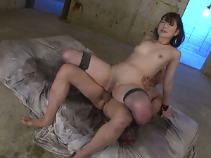 Asian, Ass, Brunettes, Cowgirl, Creampie, Long hair, Milf, Nylon, Pussy, Riding, Small tits, Stockings