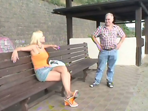 Big tits, Blondes, Busty, Old man, Public, Pussy, Reality, Shaved, Slut, Street