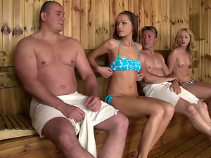 Bikini, Blondes, Blowjob, Brunettes, Reality, Sauna, Small tits, Softcore, Threesome
