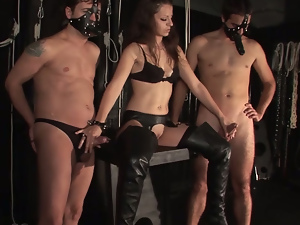 Clothed sex, Face fucked, Femdom, Fetish, Funny, Handjob, Lady, Strapon, Threesome