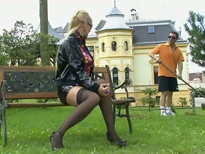 Babes, Blowjob, Clothed sex, Deepthroat, Fetish, Outdoor, Park sex, Stockings