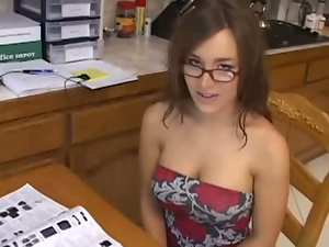 Blowjob, Brunettes, Glasses, Kitchen, Pornstars, Pov, Student
