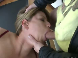 Ass, Big cock, Blondes, Blowjob, Chunky, Face fucked, Long hair, Pussy, Small tits