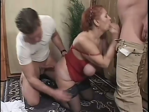 Ass, Big cock, Blowjob, Busty, Doggystyle, Grandma, Granny, Long hair, Mmf, Pussy, Redheads, Threesome, Whore