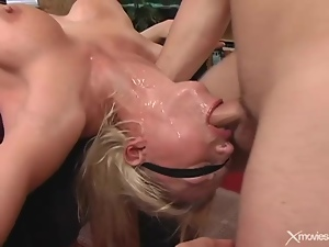Big tits, Blindfolded, Blondes, Deepthroat, Face fucked, Fucking, Throat