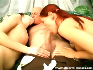 Chick, Cute, Grandpa, Old and young, Teens, Threesome