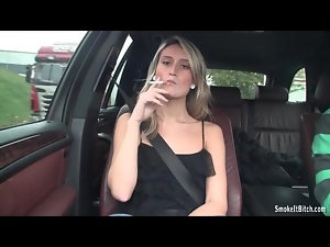 Blondes, Car, Cigarette, Sexy, Small tits, Smoking