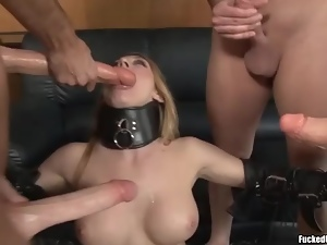Collar, Facials, Fake tits, Gangbang, Slut, Stockings