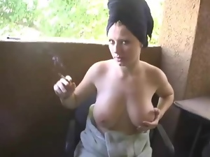 Big tits, Juggs, Juicy, Outdoor, Smoking, Tease
