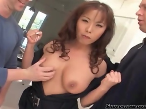 Asian, Big cock, Blowjob, Kitchen, On her knees, Threesome