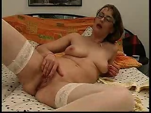 Glasses, Masturbating, Mature, Mature amateur, Stockings, Wife
