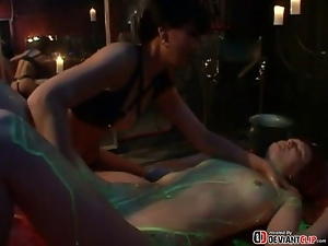 Dildo, Lesbian, Mask, Masturbating, Oiled, Ravage, Threesome