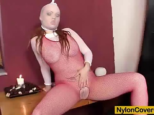 Beautiful, Bodystocking, Dildo, Erotic, Face, Fishnet, Glamour, Nylon, Redheads, Sensual, Sexy