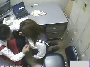 Blowjob, Hidden cam, Office, Schoolgirl uniform, Store