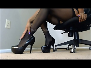 Ebony, Foot fetish, Instruction, Pantyhose, Stockings
