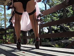 Amateur, Crossdressing, Dress, Gay, High heels, Outdoor, Pink, Satin, Sissy