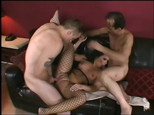 Bodystocking, Double penetration, Fishnet, Fucking, Lingerie, Milf, Stockings