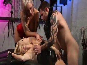3some, Anal, Ass fucking, Bdsm, Big natural tits, Big tits, Blondes, Bondage, Cum in mouth, Cum swallowing, Cumshots, Dungeon, Femdom, Ffm, Gaping hole, Hardcore, Huge tits, Humiliation, Latex, Leather, Missionary, Mistress, Slave, Threesome, Torture