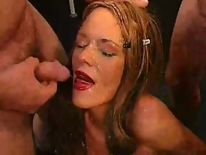 Brunettes, Bukkake, Cowgirl, Cum in her eyes, Cum in mouth, European, Facials, Gangbang, German, Hardcore, Messy facials, Missionary, Orgy, Stockings