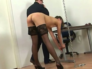 Brunettes, Dildo, Fetish, High heels, Humiliation, Natural pussy, Pain, Sex toys, Spanking, Stockings, Whip