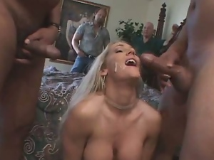 3some, Adultery, Blondes, Cheating, Cowgirl, Cumshots, Facials, Hardcore, Humiliation, Interracial, Messy facials, Mmf, Threesome