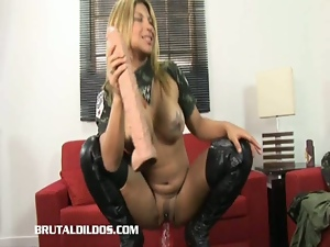 Big natural tits, Big tits, Blondes, Busty, Dildo, Masturbating, Military, Posing, Sex toys, Solo, Tease, Uniform